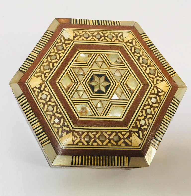 20th Century Middle Eastern Handcrafted Syrian Octagonal Box Mother of Pearl Inlaid For Sale