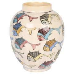 Middle Eastern Iznik Art Pottery Vase Painted with Fish