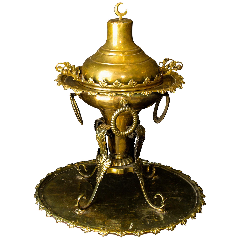 Middle Eastern Large Arabian Polished Brass Incense Burner