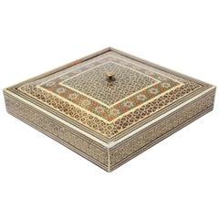 Middle Eastern Moorish Sadeli Micro Mosaic Inlaid Jewelry Box
