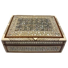 Middle Eastern Mosaic Wood Box with Inlays of Bone and Mother of Pearl, C. 1950s
