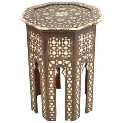Middle Eastern Mother of Pearl Inlaid Side Table