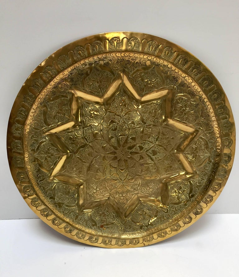 Islamic Middle Eastern Persian Antique Round Brass Tray For Sale
