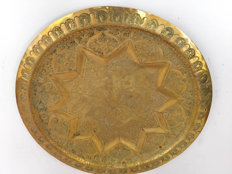 Syrian Middle Eastern Persian Antique Round Brass Tray For Sale