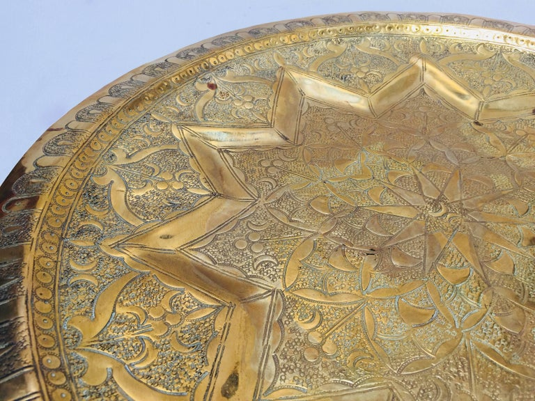 Hammered Middle Eastern Persian Antique Round Brass Tray For Sale