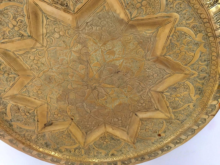 Early 20th Century Middle Eastern Persian Antique Round Brass Tray For Sale