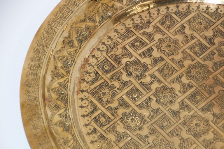 Middle Eastern Syrian Antique Round Brass Tray For Sale 4