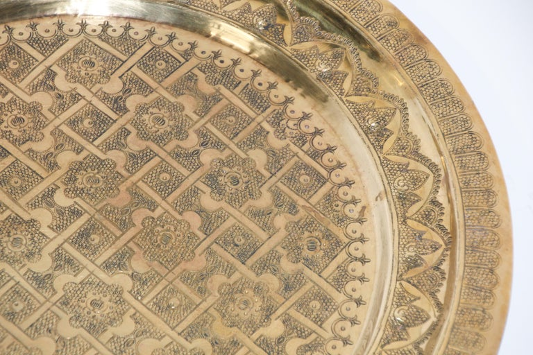 Middle Eastern Syrian Antique Round Brass Tray For Sale 5