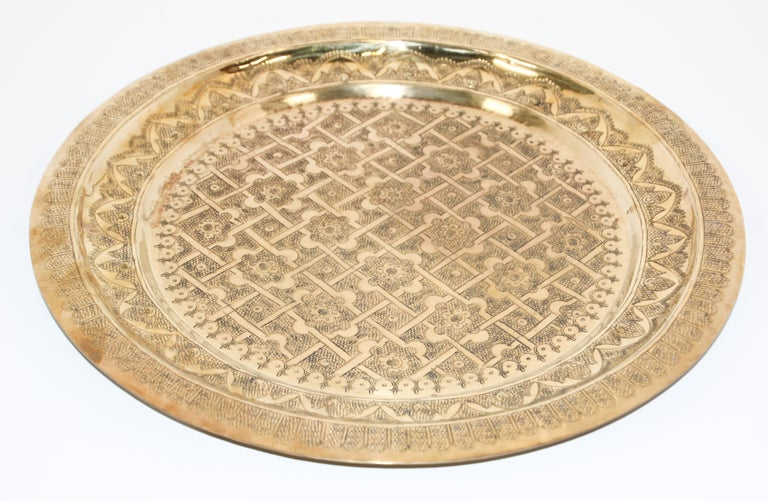 Middle Eastern Syrian Antique Round Brass Tray For Sale 8