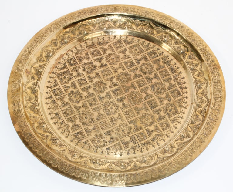 Middle Eastern Syrian Antique Round Brass Tray For Sale 9
