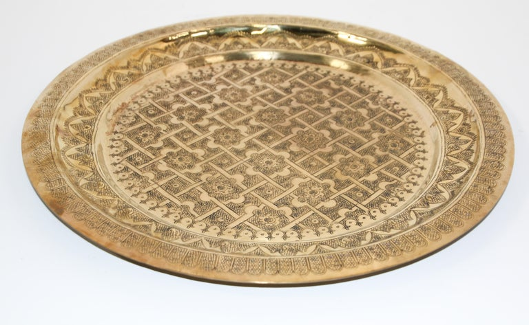 Middle Eastern Syrian Antique Round Brass Tray For Sale 10