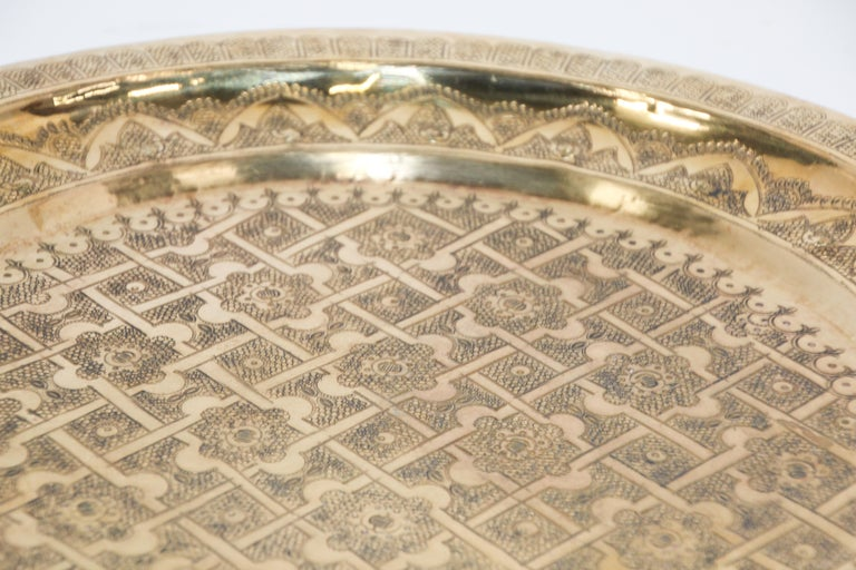 Middle Eastern Syrian Antique Round Brass Tray For Sale 11