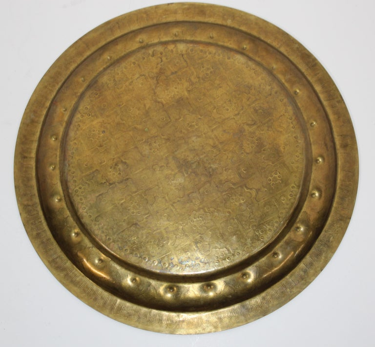 Middle Eastern Syrian Antique Round Brass Tray For Sale 13