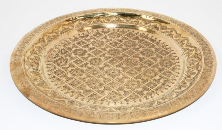 Islamic Middle Eastern Syrian Antique Round Brass Tray For Sale