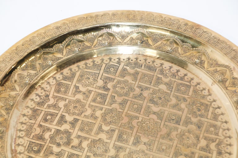 20th Century Middle Eastern Syrian Antique Round Brass Tray For Sale