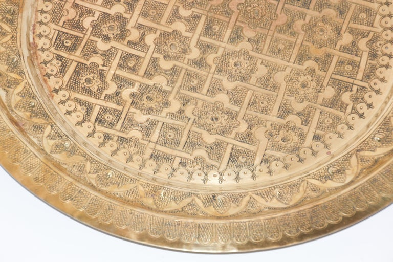 Middle Eastern Syrian Antique Round Brass Tray For Sale 1