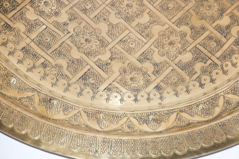 Middle Eastern Syrian Antique Round Brass Tray For Sale 2
