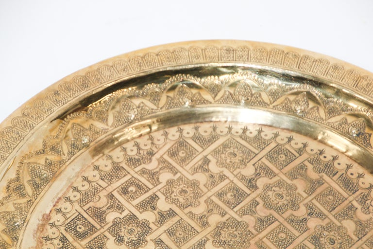 Middle Eastern Syrian Antique Round Brass Tray For Sale 3