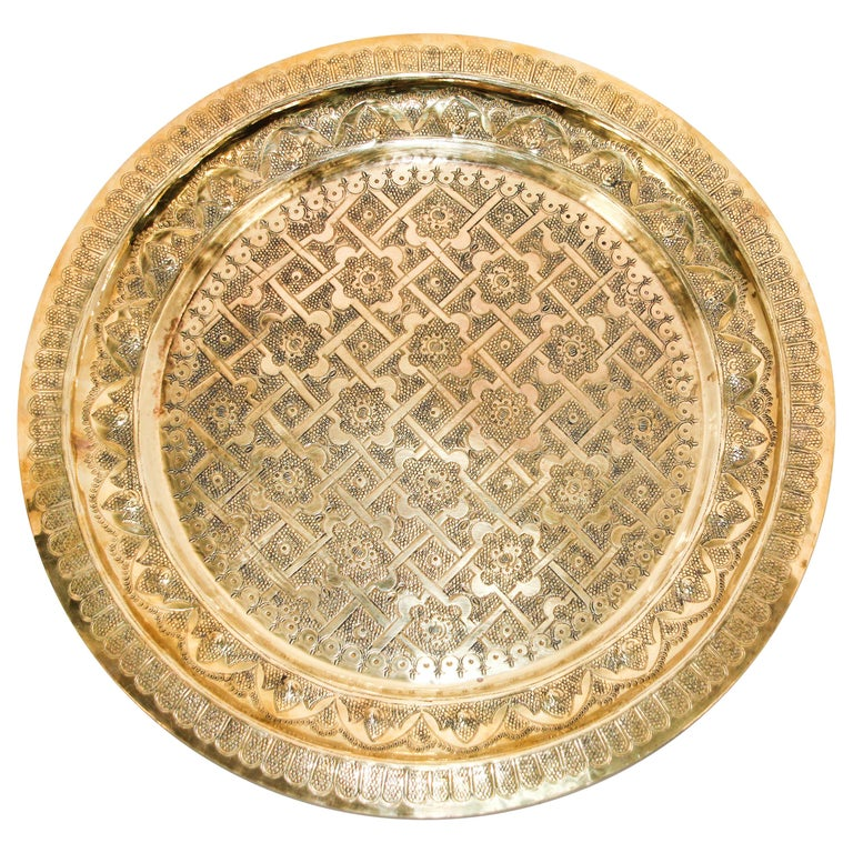 Middle Eastern Syrian Antique Round Brass Tray For Sale