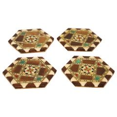 Middle Eastern Syrian Inlaid Marquetry Mosaic Set of Four Coasters