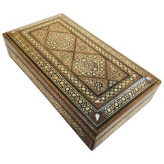 Middle Eastern Syrian Micro Mosaic Khatam Inlaid Jewelry Box