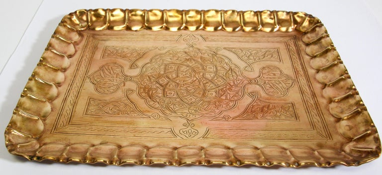 Middle Eastern Syrian Rectangular Brass Tray with Arabic Writing For Sale 4