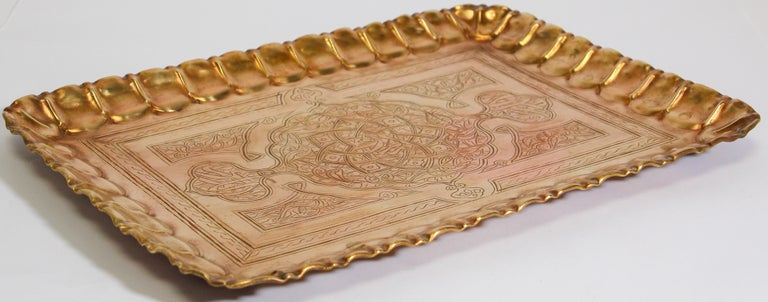 Middle Eastern Syrian rectangular brass tray with Arabic Writing Moorish rectangular brass tray with fine delicate geometrical designs, and Islamic Arabic calligraphy writing. Could be used as a serving tray, or wall hanging. Dimensions: 17