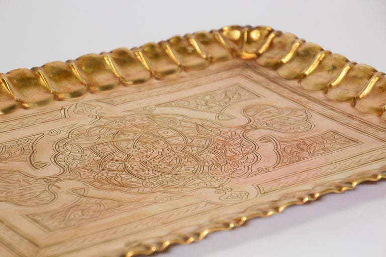 Hand-Carved Middle Eastern Syrian Rectangular Brass Tray with Arabic Writing For Sale