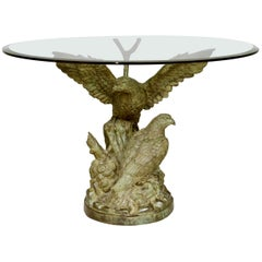 Middle Table with Bronze Eagles with Green Patina