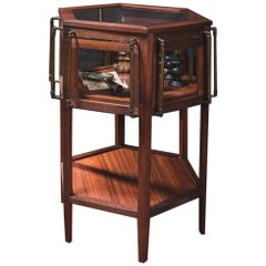 Midentury Wooden Bevelled Glass And Patina Brass Side Table with Showcase