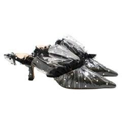 Midnight 00 Black Crystal-embellished Tulle & PVC Mules - Size EU 35.5