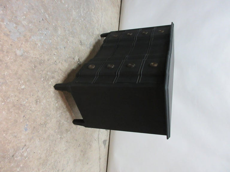 Midnight Black Gustavian Style Chest In Distressed Condition For Sale In Hollywood, FL