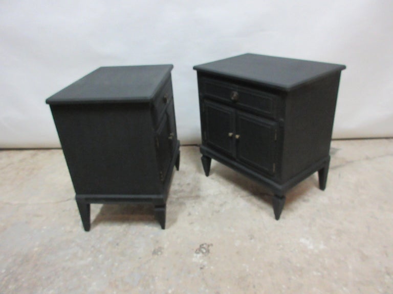 This is a set of 2 midnight black Gustavian Style nightstands . They been restored and repainted with milk paints