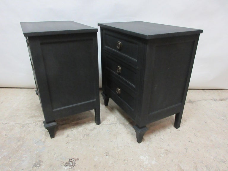Mid-20th Century Midnight Black Gustavian Style Nightstands For Sale