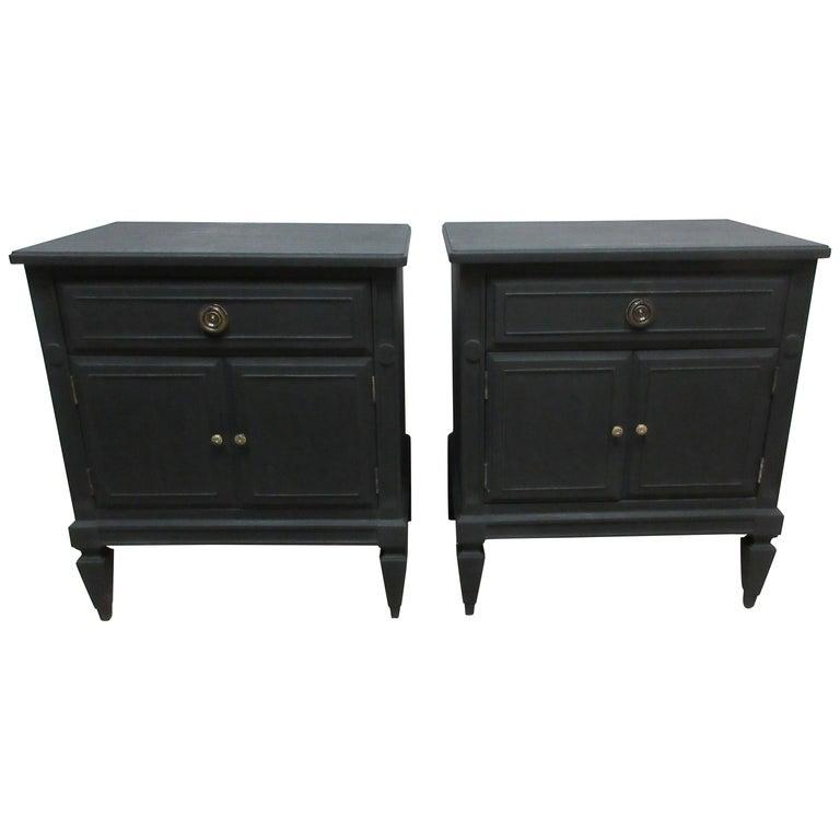 Midnight Black Gustavian Style Nightstands For Sale