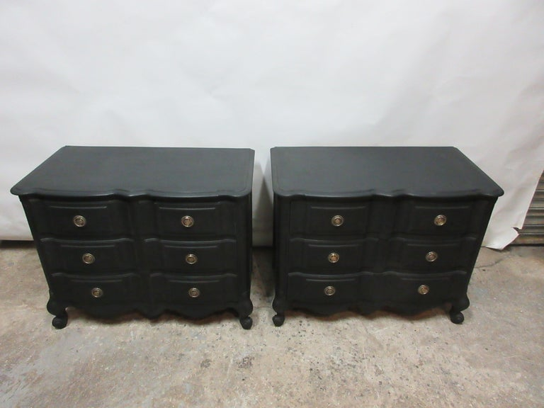 This is a set of midnight black Rococo chest of drawers. They have been restored and repainted with milk paints midnight black.