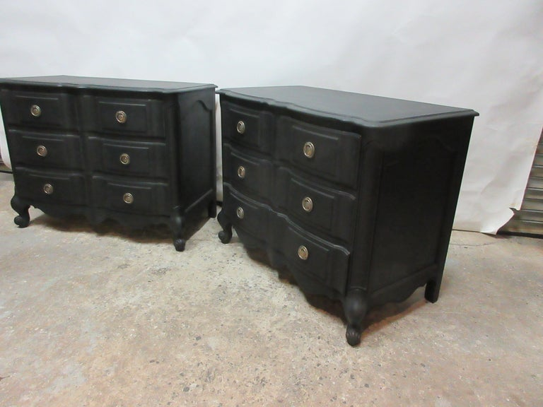 Swedish Midnight Black Set of Rococo Chest of Drawers For Sale
