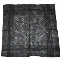 "Midnight Black with Ivory Border ""Raindrops"" Cotton Handkerchief"