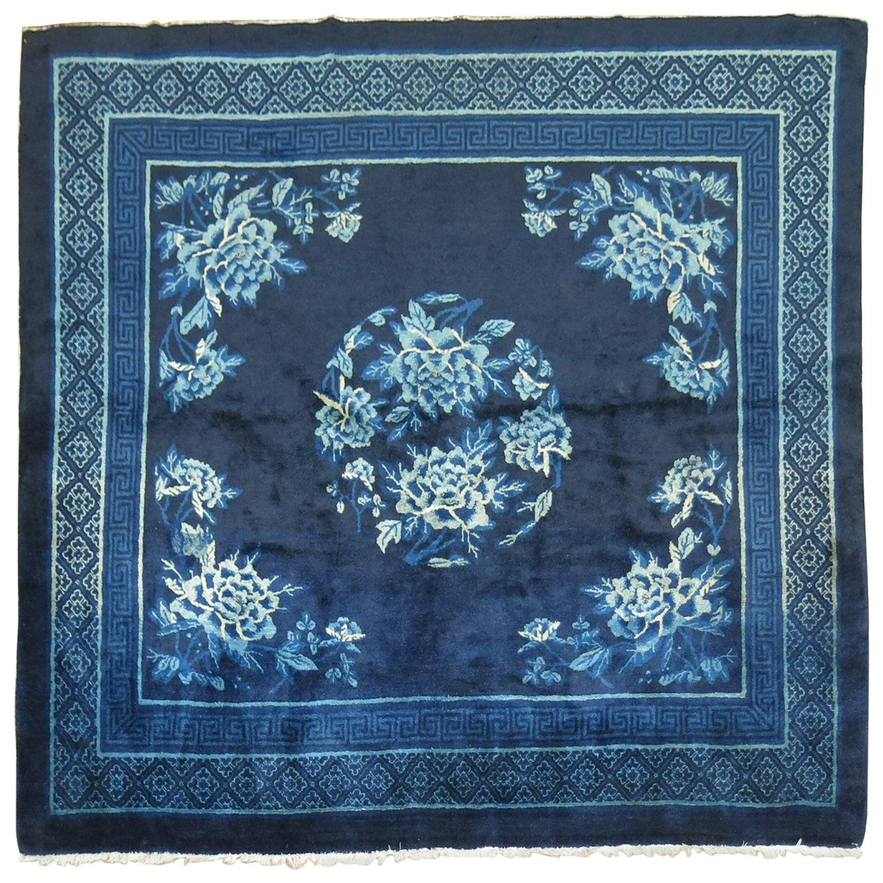 Midnight Blue Antique Chinese Square Peking Rug