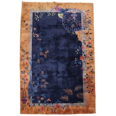 Midnight Blue Art Deco Chinese Foyer Size Rug, 20th Century
