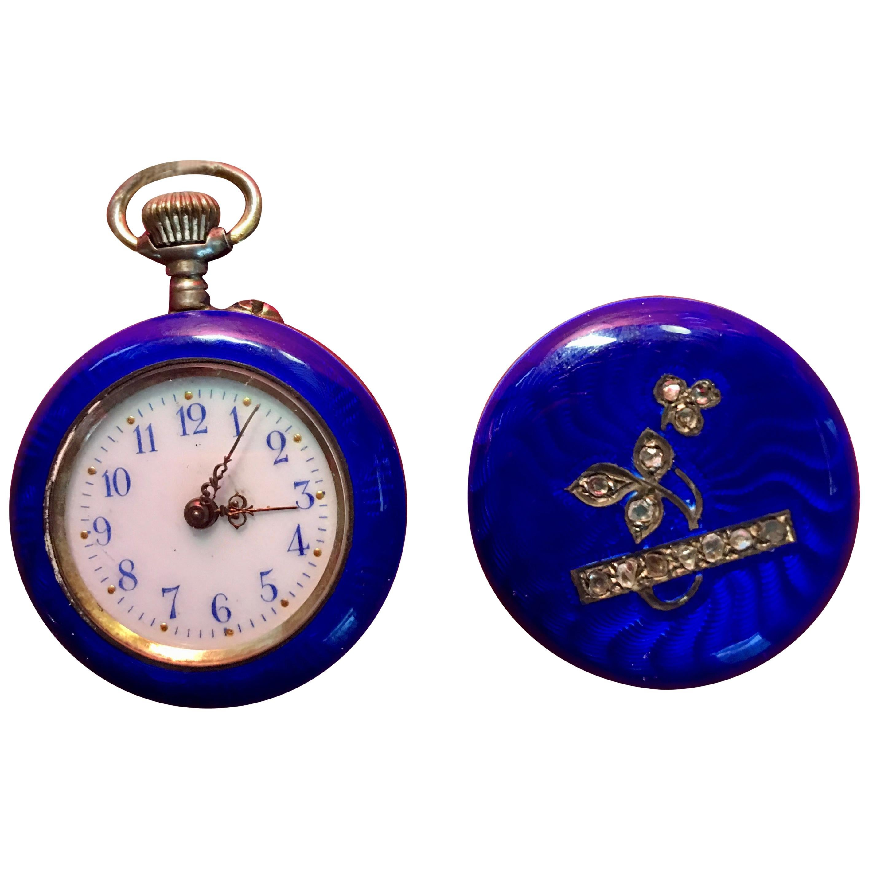 Midnight Blue Enamel & diamonds Fob Pocket Watch