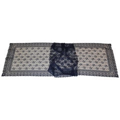 Midnight Blue Large Hand-Woven French Lace Floral with Scallop Edges Shawl