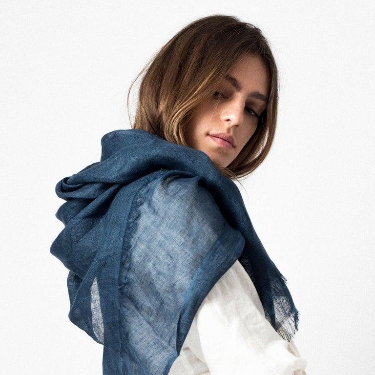 Modern Midnight Blue Solid Linen Scarf / Wrap / Shawl For Sale