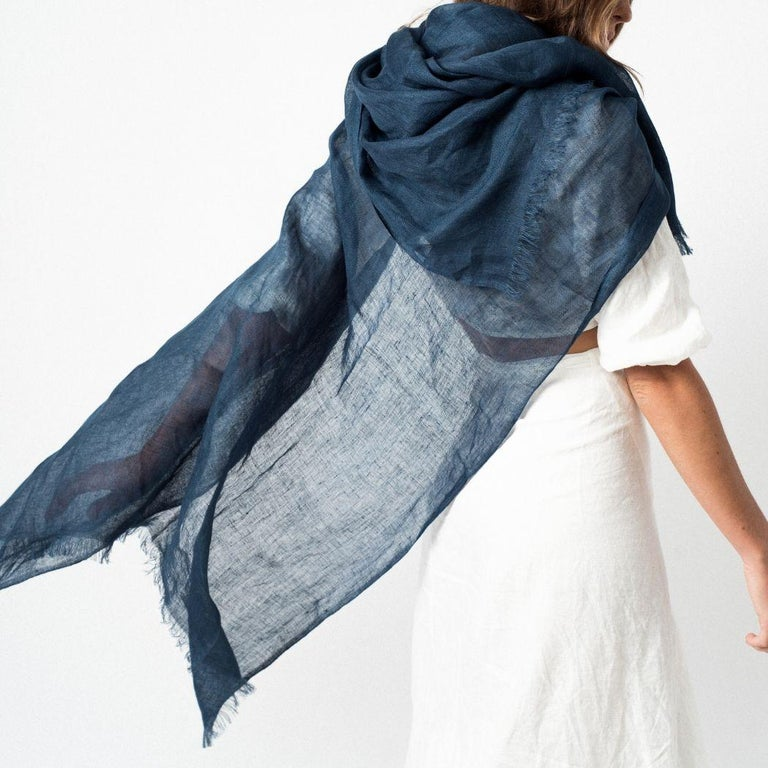 Indian Midnight Blue Solid Linen Scarf / Wrap / Shawl For Sale