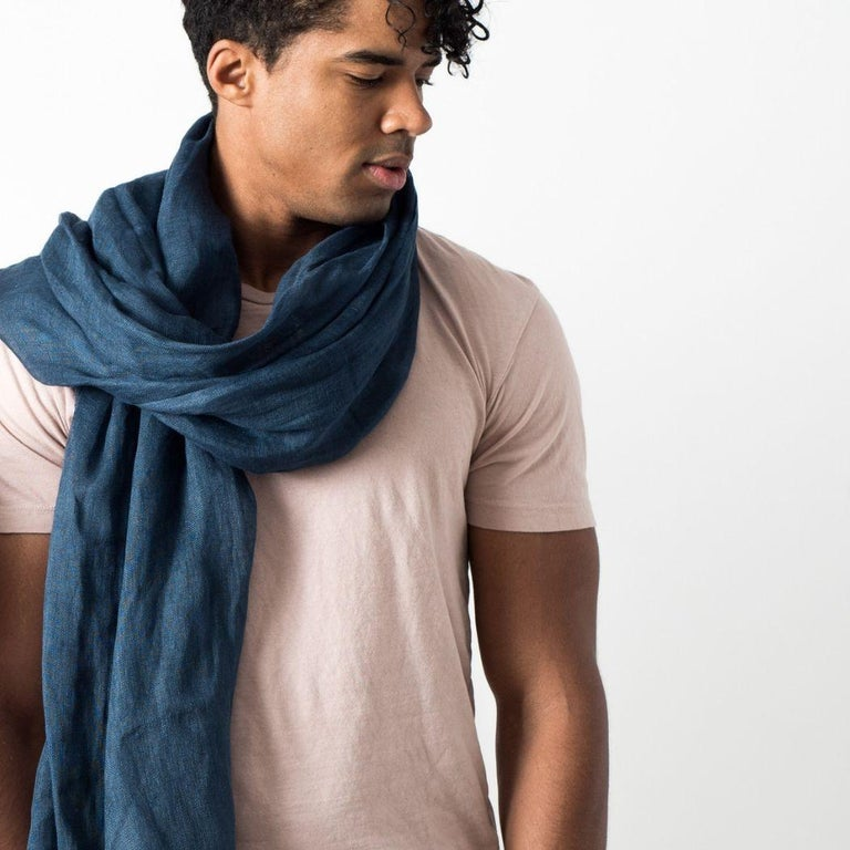 Hand-Woven Midnight Blue Solid Linen Scarf / Wrap / Shawl For Sale