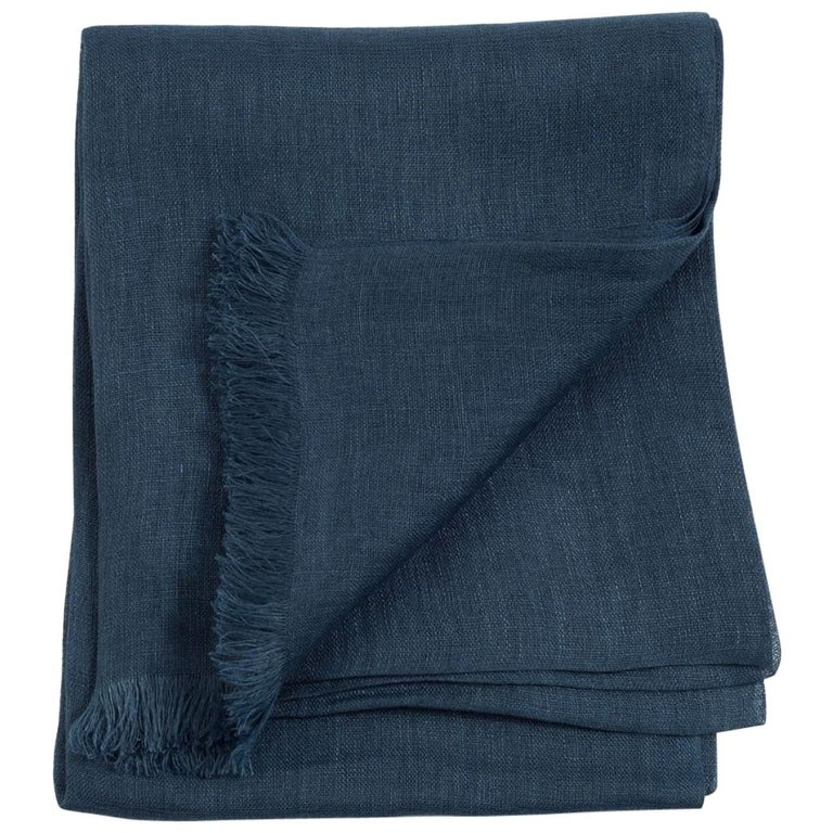 Midnight Blue Solid Linen Scarf / Wrap / Shawl For Sale