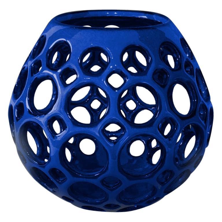 Cobalt Blue Teardrop Tabletop Candleholder, in Stock For Sale
