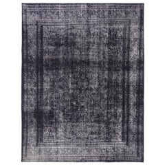 Midnight Purple Distressed Vintage Turkish Rug with Industrial Luxe Style