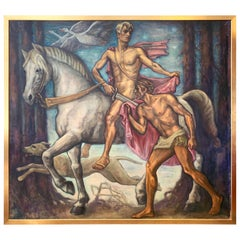 """Midnight Ride,"" Monumental Art Deco Painting with Horse and Male Nudes, Swedish"