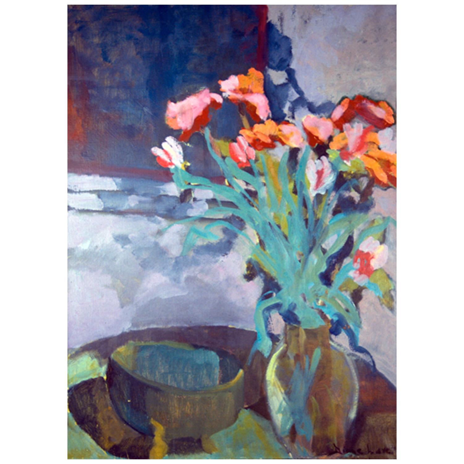 """""""Midnight Roses,"""" 1994 Blue Floral Still-Life Oil on Canvas by Diane Love"""
